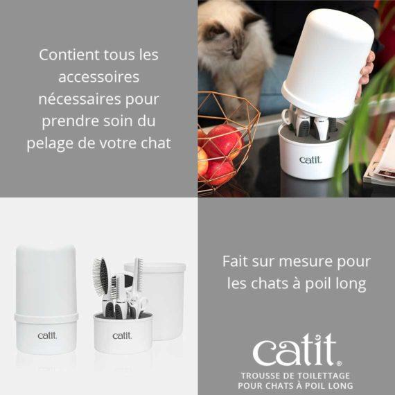 Trousse de toilettage pour chats à poil long Catit - Contient tous les accessoires nécessaires pour prendre soin du pelage de votre chat. Fait sur mesure pour les chats à poil long