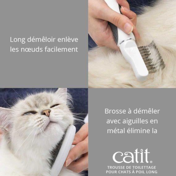 Trousse de toilettage pour chats à poil long Catit - Long démêloir enlève les nœuds facilement Brosse à démêler avec aiguilles en métal élimine la peau morte