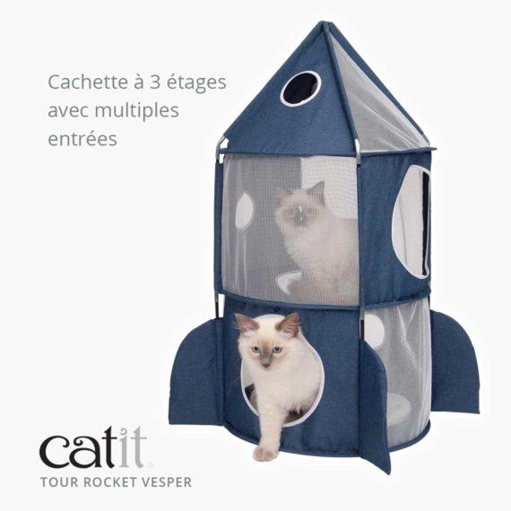 Tour Rocket Vesper Catit - Cachette à 3 étages avec multiples entrées