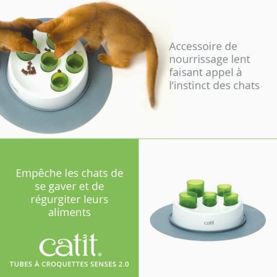 Tubes à croquettes Senses 2.0 Catit - Accessoire de nourrissage lent faisant appel à l'instinct des chats. Empêche les chats de se gaver et de régurgiter leurs aliments