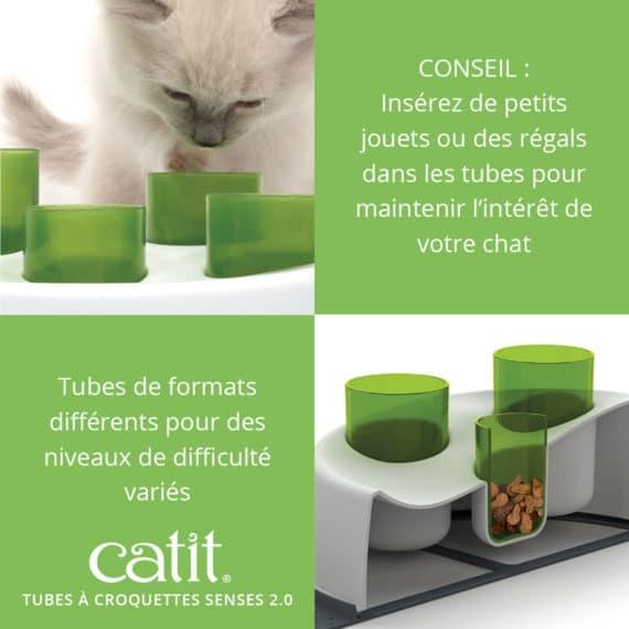 Tubes à croquettes Senses 2.0 Catit - CONSEIL: Insérez de petits jouets ou des régals dans les tubes pour maintenir l'intérêt de votre chat. Tubes de formats différents pour des niveaux de difficulté variés