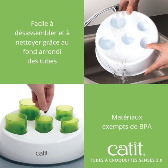 Tubes à croquettes Senses 2.0 Catit - Facile à désassembler et à nettoyer grâce au fond arrondi des tubes. Matériaux exempts de BPA