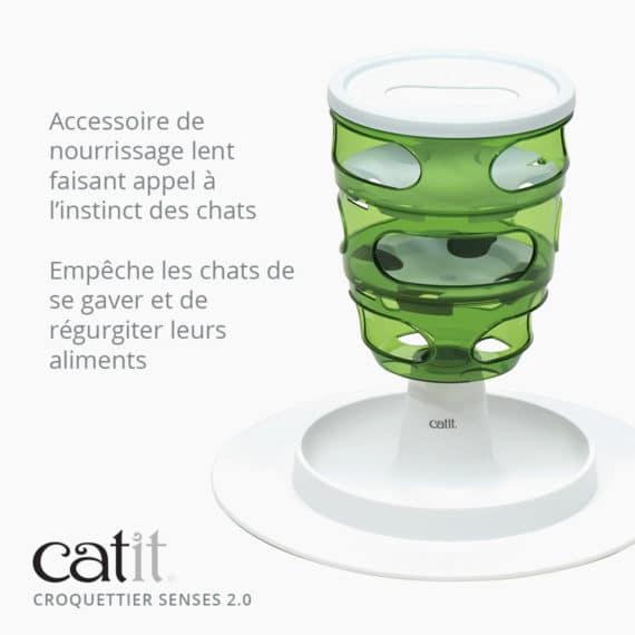Croquettier Senses 2.0 Catit – Accessoire de nourrissage lent faisant appel à l'instinct des chats. Empêche les chats de se gaver et de régurgiter leurs aliments