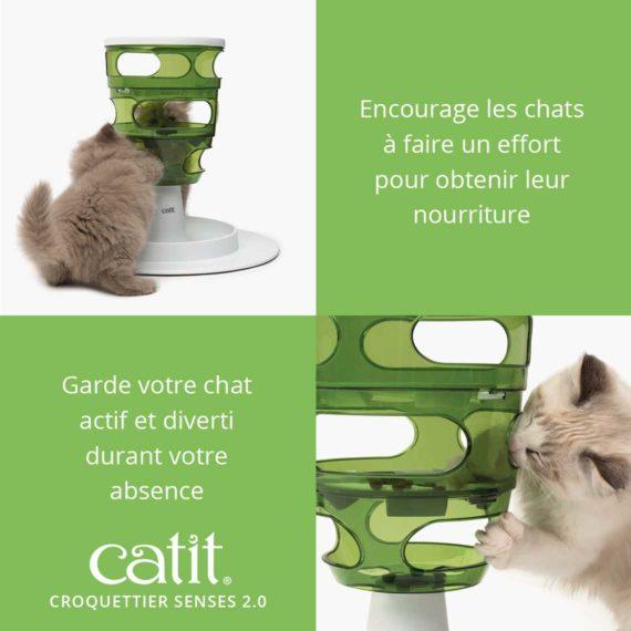 Croquettier Senses 2.0 Catit – Encourage les chats à faire un effort pour obtenir leur nourriture et garde votre chat actif et diverti durant votre absence