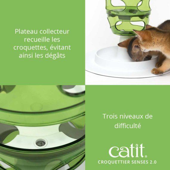 Croquettier Senses 2.0 Catit – Plateau collecteur receuille les croquettes, évitant ainsi les dégâts. Trois niveaux de difficulté