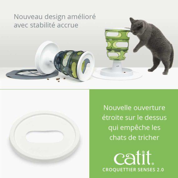 Croquettier Senses 2.0 Catit – Nouveau design amélioré avec stabilité accrue. Nouvelle ouverture étroite sur le dessus qui empêche les chats de tricher