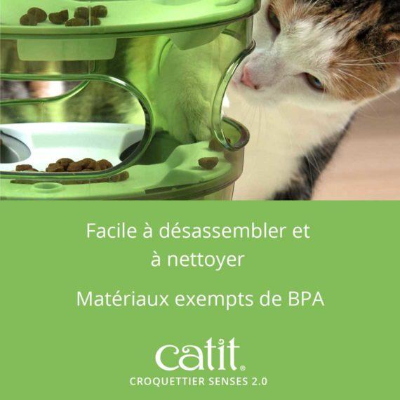 Croquettier Senses 2.0 Catit – Facile à désassembler et à nettoyer. Matériaux exempts de BPA