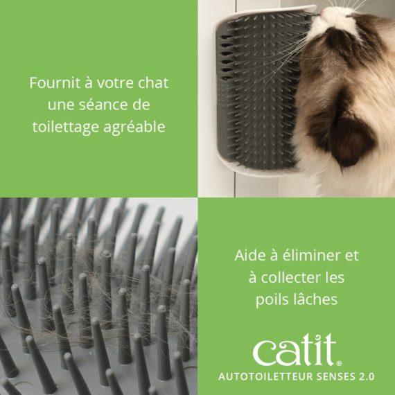 Autotoiletteur Senses 2.0 Catit fournit à votre chat une séance de toilettage agréable et aide à éliminer et à collecter les poils lâches