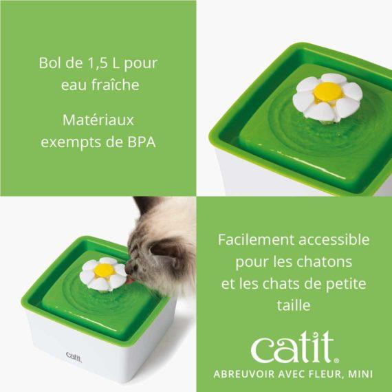 Abreuvoir avec fleur, mini Catit - Bol de 1,5 L pour eau fraîche et matériaux exempts de BPA et facilement accessible pour les chatons et les chats difficiles