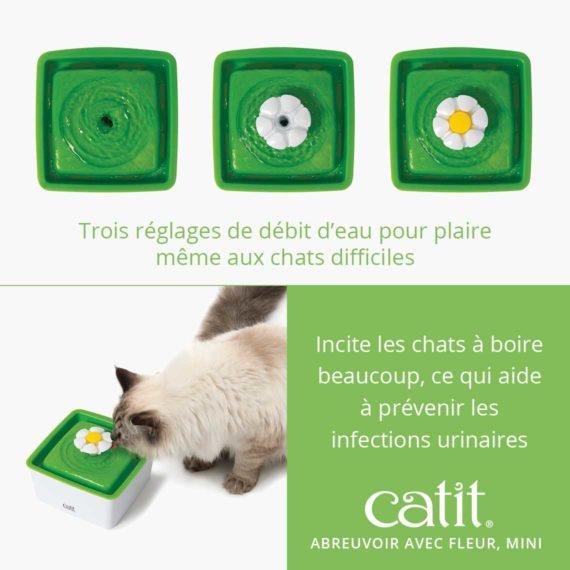 Abreuvoir avec fleur, mini Catit - Trois réglages de débit d'eau pour plaire même aux chats difficiles et incite incite les chats à boire beaucoup, ce qui aide à prévenir les infections urinaires