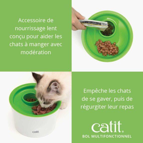 Bol Multifonctionnel Catit - Accessoire de nourrissage lent conçu pour aider les chats à manger avec modération. Empêche les chats de se gaver, puis de régurgiter leur repas