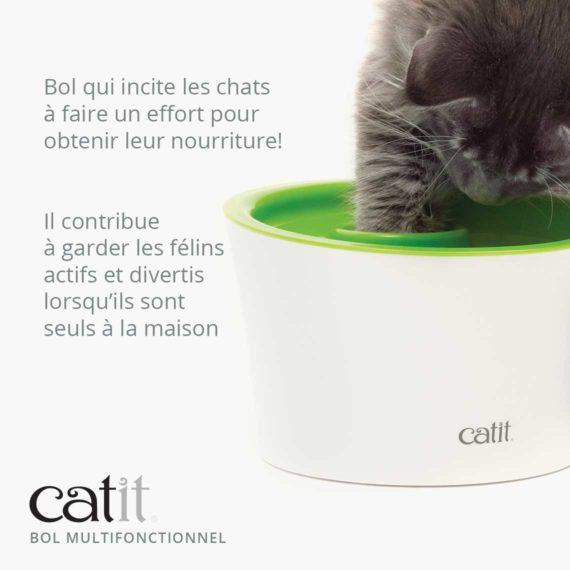 Bol Multifonctionnel Catit - Bol qui incite les chats à faire un effort pour obtenir leur nourriture! Il contribue à garder les félins actifs et divertis lorsqu'ils sont seuls à la maison