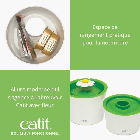Bol Multifonctionnel Catit - Espace de rangement pratique pour la nourriture. Allure moderne qui s'agence à l'abreuvoir Catit avec fleur