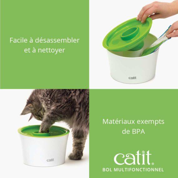 Bol Multifonctionnel Catit - Facile à désassemble et à nettoyer. Matériaux exempts de BPA