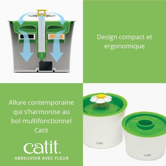 Abreuvoir avec fleur Catit - Design compact et ergonomique. Allure contemporaine qui s'harmonise au bol multifonctionnel Catit