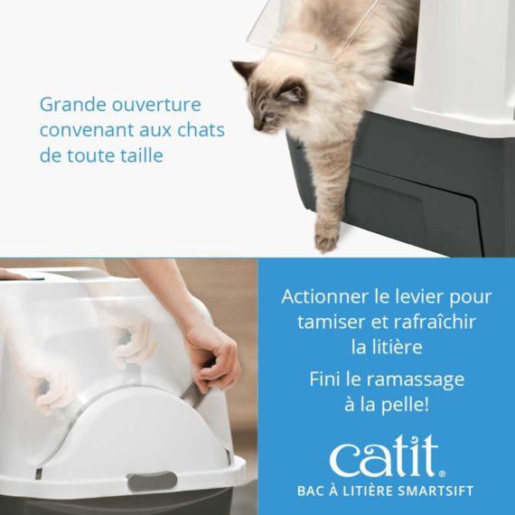Bac à litière Smartsift Catit - Grande ouverture convenant aux chats de toute taille. Actionner le levier pour tamiser et rafraîchir la litière et fini le ramassage à la pelle!