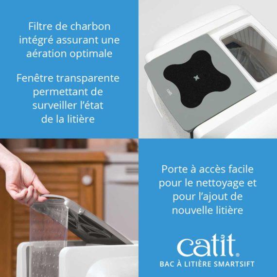 Bac à litière Smartsift Catit - Filtre de charbon intégré assurant une aération optimale et fenêtre transparente permettant de surveiller l'état de la litière et porte à accès facile pour le nettoyage et pour l'ajout de nouvelle litière