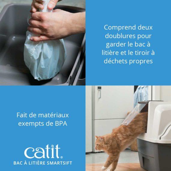 Bac à litière Smartsift Catit - Comprend deux doublures pour garder le bac à litière et le tiroir à déchets propres et fait de matériaux exempts de BPA
