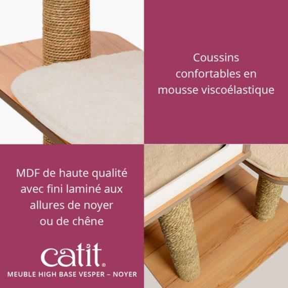 Meuble Vesper High Base Catit - Coussins confortables en mousse viscoélastique. MDF de haute qualité avec fini laminé aux allures de noyer ou de chêne