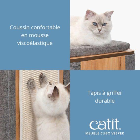 Meuble Cubo Vesper Catit - Coussin confortable en mousse viscoélastique. Tapis à griffer durable