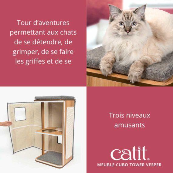 Meuble Cubo Tower Vesper Catit – Tour d'aventures permettant aux chats de se détendre, de grimper, de se faire les griffes et de se cacher avec trois niveaux amusants