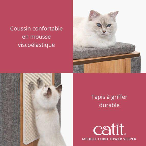 Meuble Cubo Tower Vesper Catit - Coussin confortable en mousse viscoélastique. Tapis à griffer durable