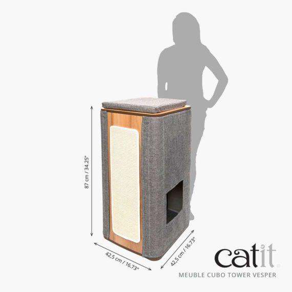 Meuble Cubo Tower Vesper Catit - Mesures