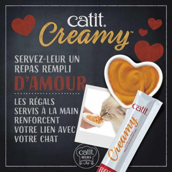 Catit Creamy - Servez-leur un repas rempli d'amour. Les régals servis à la main renforcent votre lien avec votre chat