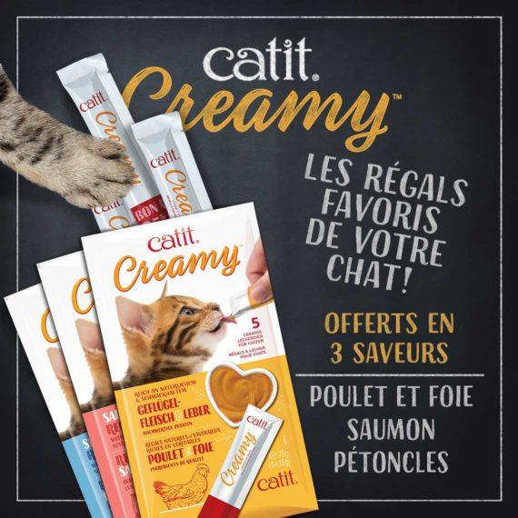 Catit Creamy - Les régals favoris de votre chat! Offerts en 3 saveurs: poulet & foie, saumon et pétoncles