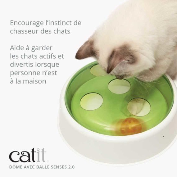 Dôme avec balle Senses 2.0 Catit - Encourage l'instinct de chasseur des chats. Aide à garder les chats actifs et divertis lorsque personne n'est à la maison