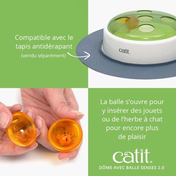 Dôme avec balle Senses 2.0 Catit - Compatible avec le tapis antidérapant (vendu séparément). La balle s'ouvre pour y insérer des jouets ou de l'herbe à chat pour encore plus de plaisir