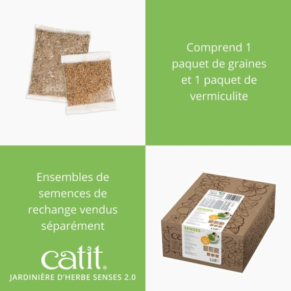 Jardinière d'herbe Senses 2.0 Catit comprend 1 paquet de grains et 1 paquets de vermiculite, ensembles de semences de rechange vendus séparément