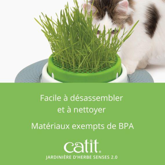 Jardinière d'herbe Senses 2.0 Catit est facile à désassembler et à nettoyer. Matériaux exempts de BPA