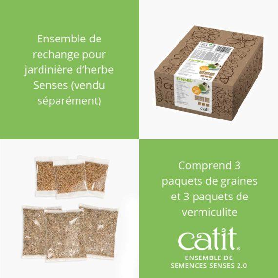 Ensemble de semences Senses 2.0 Catit est un ensemble de rechange pour jadinière d'herbe Senses (vendu séparément) et comprend 3 paquets de grains et 3 paquets de vermiculite