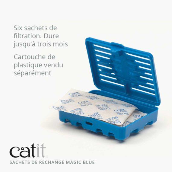 Sachets de rechange Magic Blue Catit - Six sachets de filtration. Dure jusqu'à trois mois. Cartouche de plastique vendu séparément