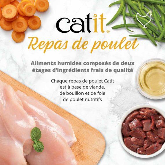 Catit Repas de poulet - Aliments humides composés de deux étages d'ingrédients frais de qualité. Chaque repas de poulet Catit est à base de viande, de bouillon et de foie de poulet nutritifs