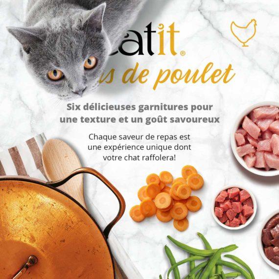 Catit Repas de Poulet - Six délicieuses garnitures pour une texture et un goût savoureux. Chaque saveurs de repas est une expérience unique dont votre chat raffolera!