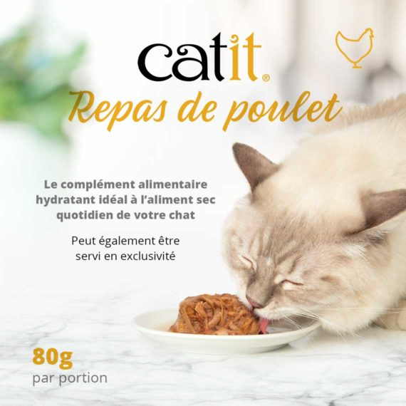 Catit Repas de Poulet - Le complément alimentaire hydratant idéal ç l'aliment sec quotidien de votre chat. Peut également être servi en exclusivité. 80g par portion