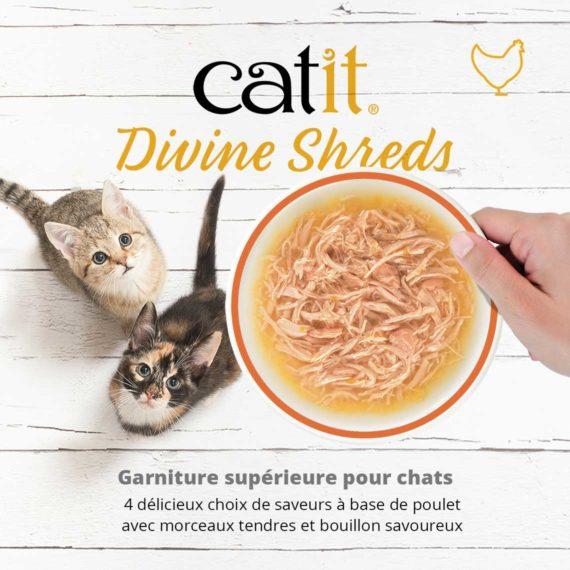 Catit Divine Shreds Poulet - Garniture supérieure pour chats. 4 délicieux choix de saveurs à base de poulet avec morceaux tendres et bouillon savoureux