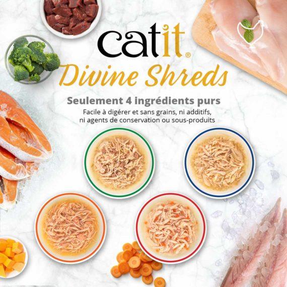Catit Divine Shreds Poulet - Seulement 4 ingrédients purs. Facile à digérer et sans grains, ni additifs, ni agents de conservation ou sous-produits