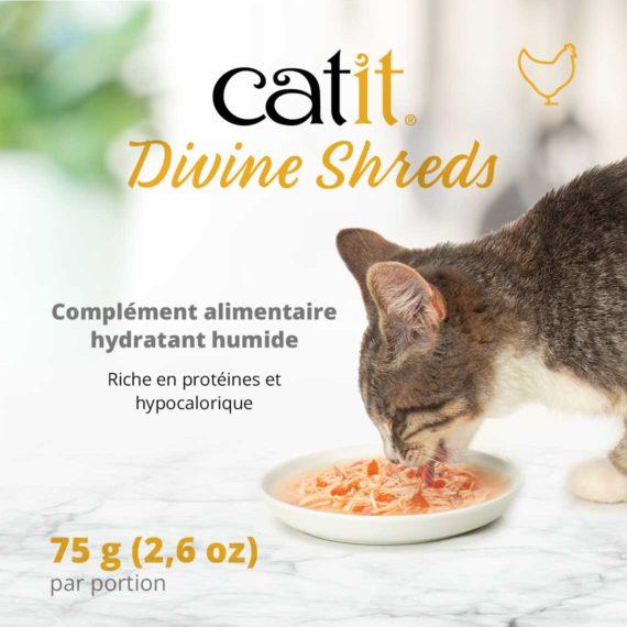 Catit Divine Shreds Poulet - Complément alimentaire hydratant humide. Riche en protéines et hypocalorique (75 g/2,6 oz par portion)