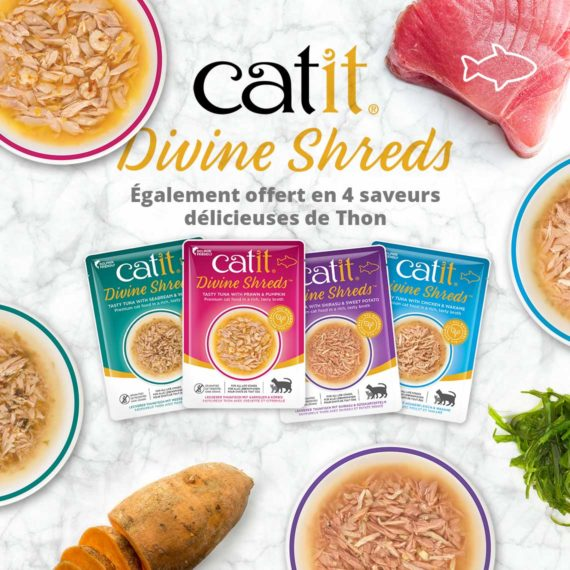 Catit Divine Shreds Poulet - Également offert en 4 saveurs délicieuses de Thon