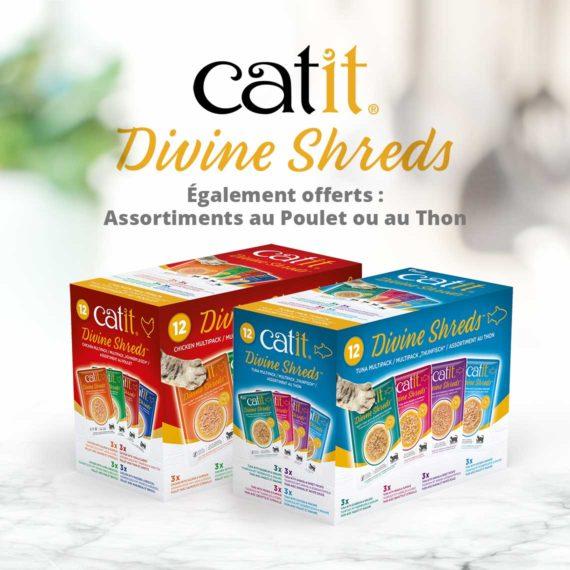 Catit Divine Shreds Poulet - Également offert : Assortiments au poulet ou au Thon