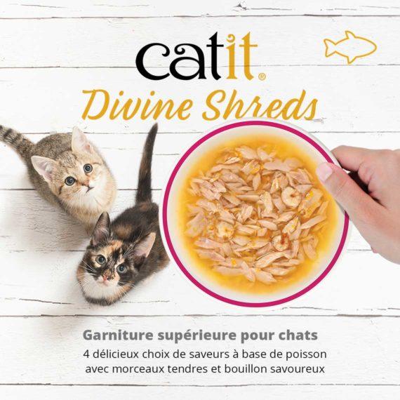 Catit Divine Shreds Poisson - Garniture supérieure pour chats. 4 délicieux choix de saveurs à base de poisson avec morceaux tendres et bouillon savoureux
