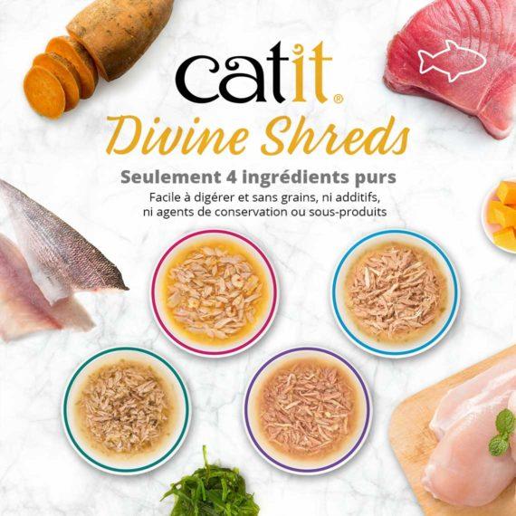 Catit Divine Shreds Poisson - Seulement 4 ingrédients purs. Facile à digérer et sans grains, ni additifs, ni agents de conservation ou sous-produits
