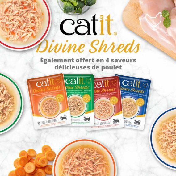 Catit Divine Shreds Poisson - Également offert en 4 saveurs délicieuses de poulet