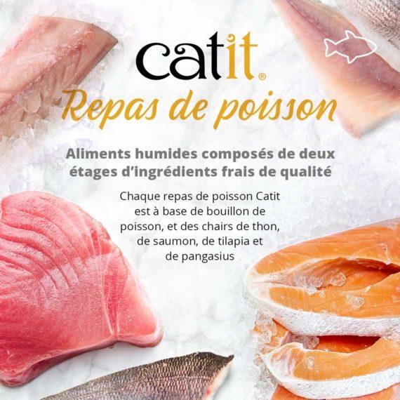 Catit Repas de Poisson - Aliments humides composés de deux étages d'ingrédients frais de qualité. Chaque repas de poisson Catit est à base de bouillon de poisson, et des chairs de thon, de saumon, de tilapia et de pangasius