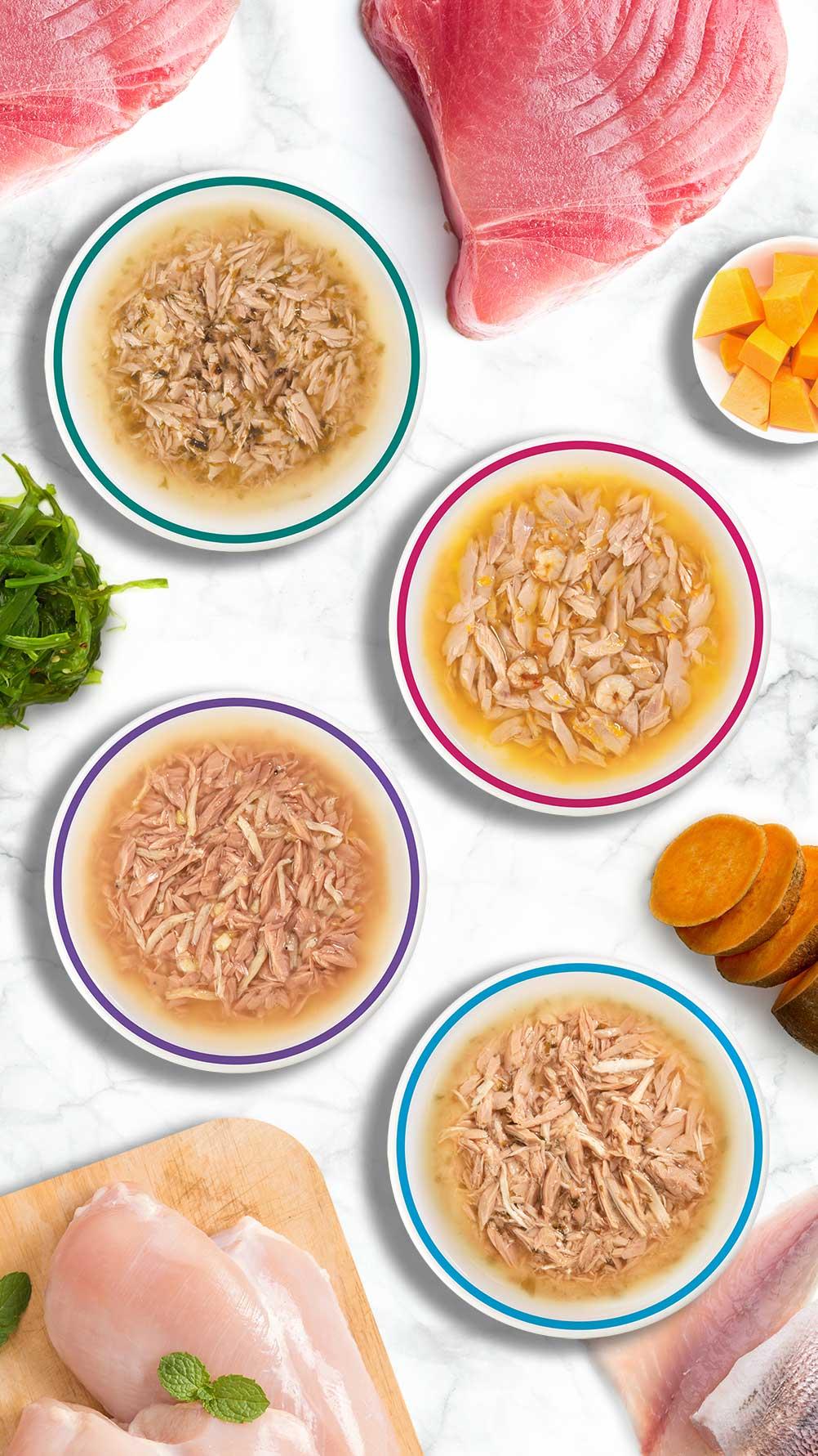 Divine Shreds Catit au poisson sont préparées à partir de seulement 4 ingrédients purs